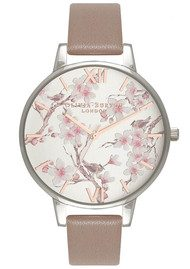 Olivia Burton Parlour Blossom Birds Watch - Iced Coffee & Silver