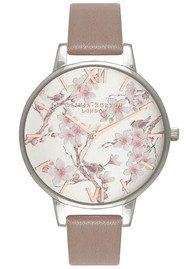 Olivia Burton Parlour Blossom Birds Watch - Iced Coffee & Silver