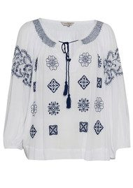Great Plains Benicassim Embroidered Blouse - Optic White & Petrol Blue