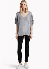 Great Plains Flori Frill Knit Top - Marble Grey