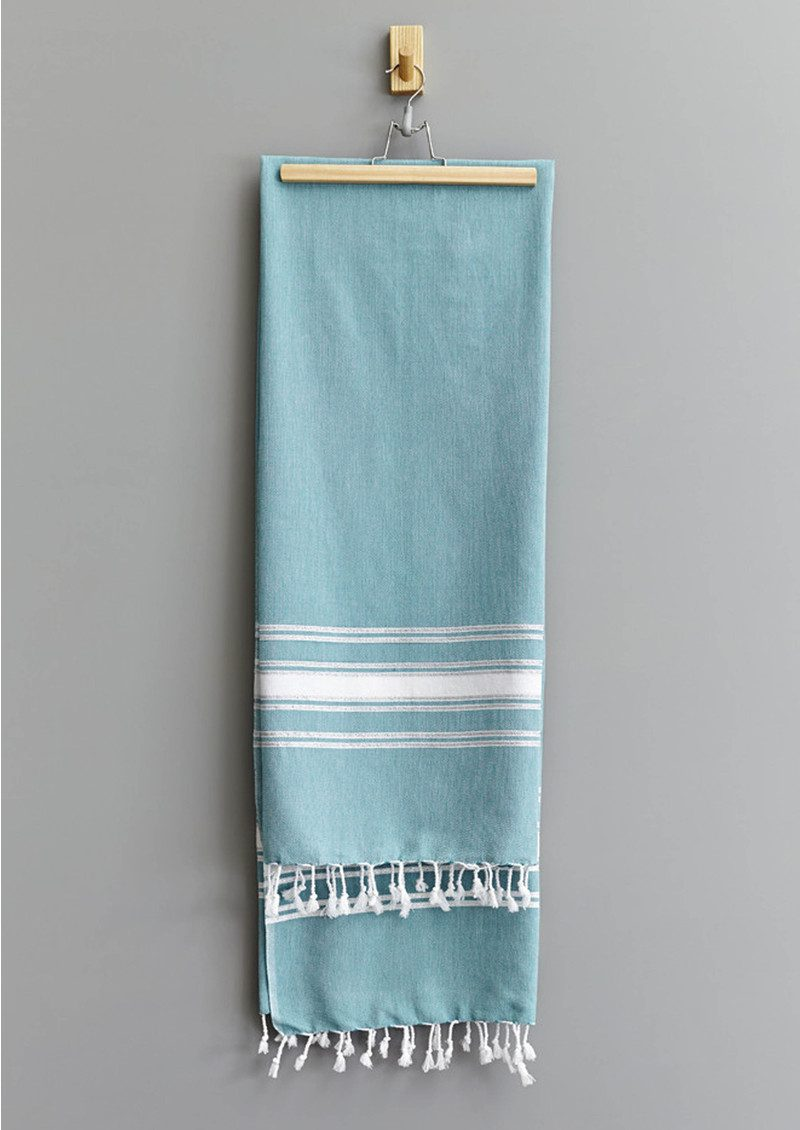 HAMMAMHAVLU Ziya Silver Lurex Stripe Towel - Jade main image