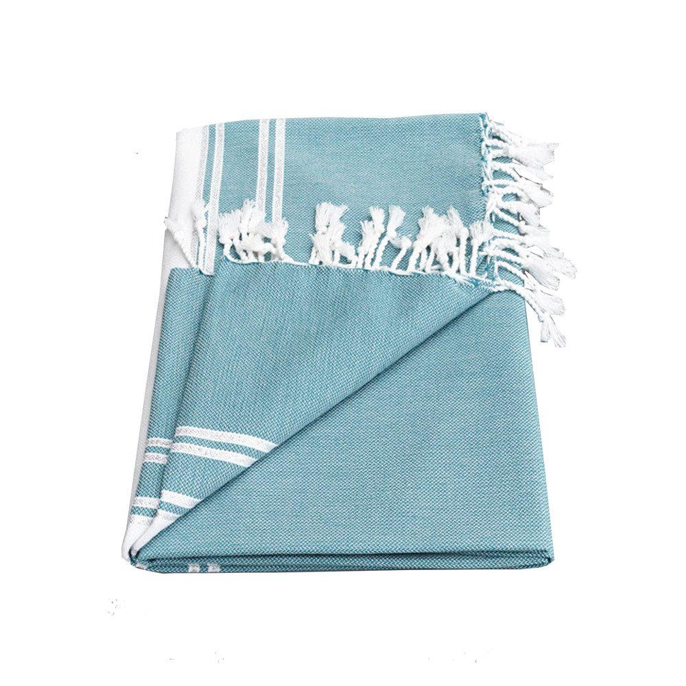 Ziya Silver Lurex Stripe Towel - Jade