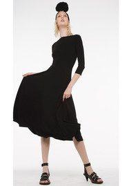 NORMA KAMALI Long Sleeve Reversible Scoop Neck Dress - Black