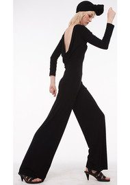 KAMALI KULTURE Long Sleeved Draped Back Jumpsuit - Black