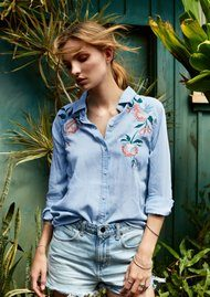 Rails Chandler Embroidered Shirt - Vintage Wash