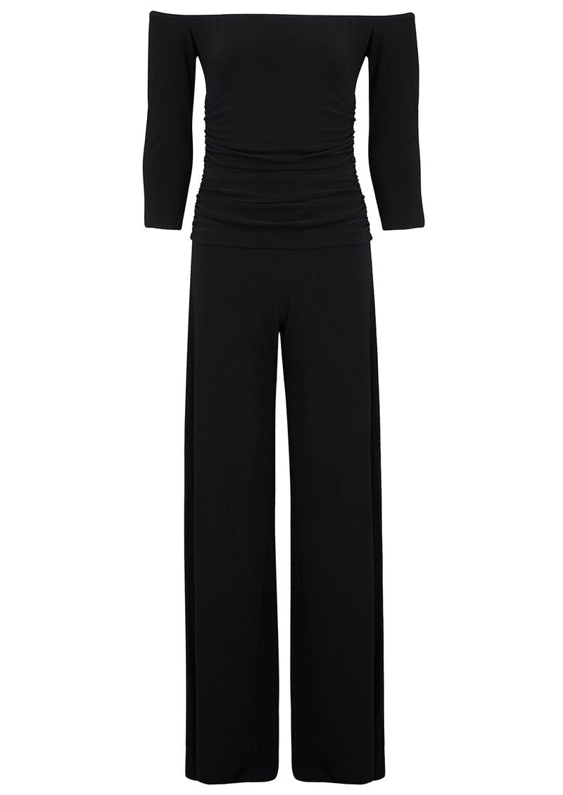 KAMALI KULTURE Off Shoulder Shirred Jumpsuit - Black main image
