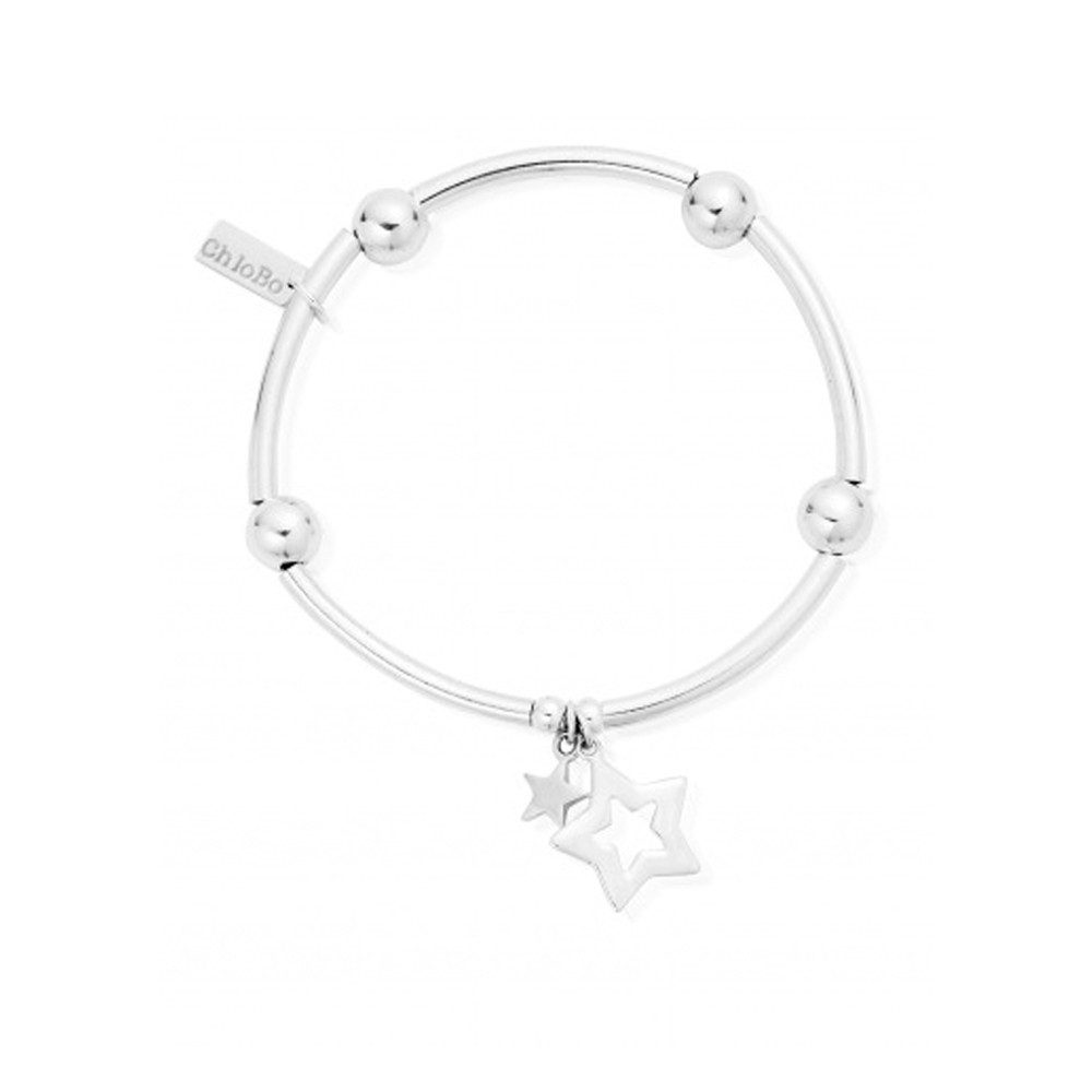 Noodle Ball Bracelet With Double Star - Silver