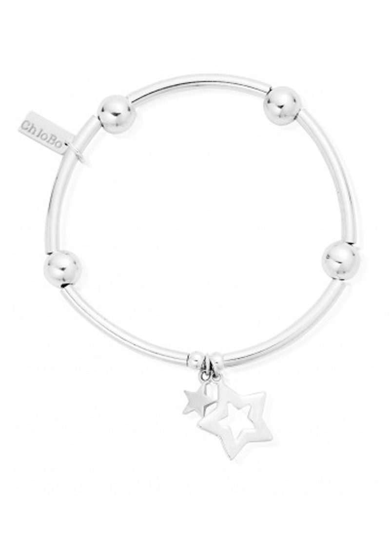 ChloBo Noodle Ball Bracelet With Double Star - Silver main image