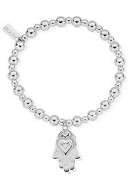 ChloBo Mini Small Ball Bracelet with Hamsa Hand Charm - Silver