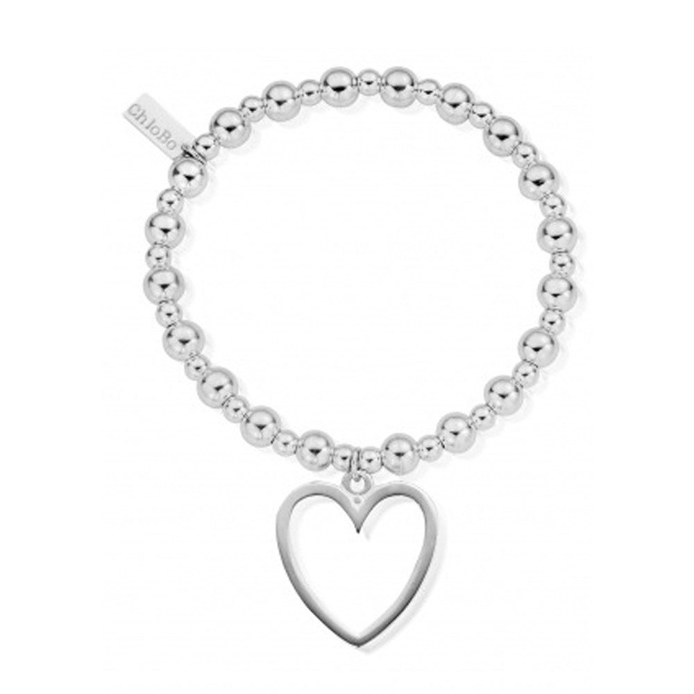 Mini Small Ball Bracelet with Open Heart Charm - Silver