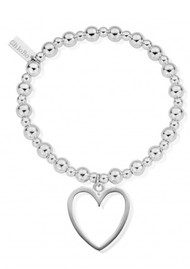 ChloBo Mini Small Ball Bracelet with Open Heart Charm - Silver