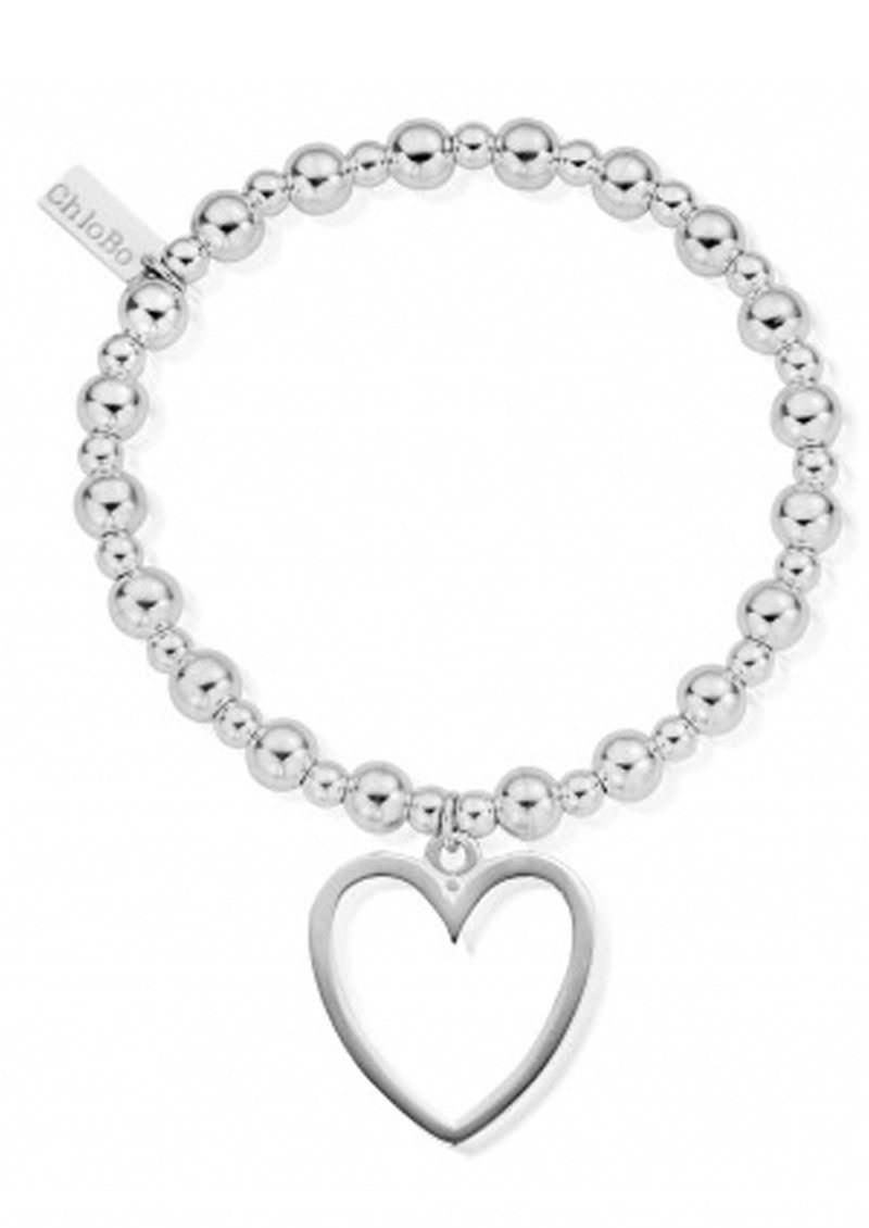 Mini Small Ball Bracelet with Open Heart Charm - Silver main image