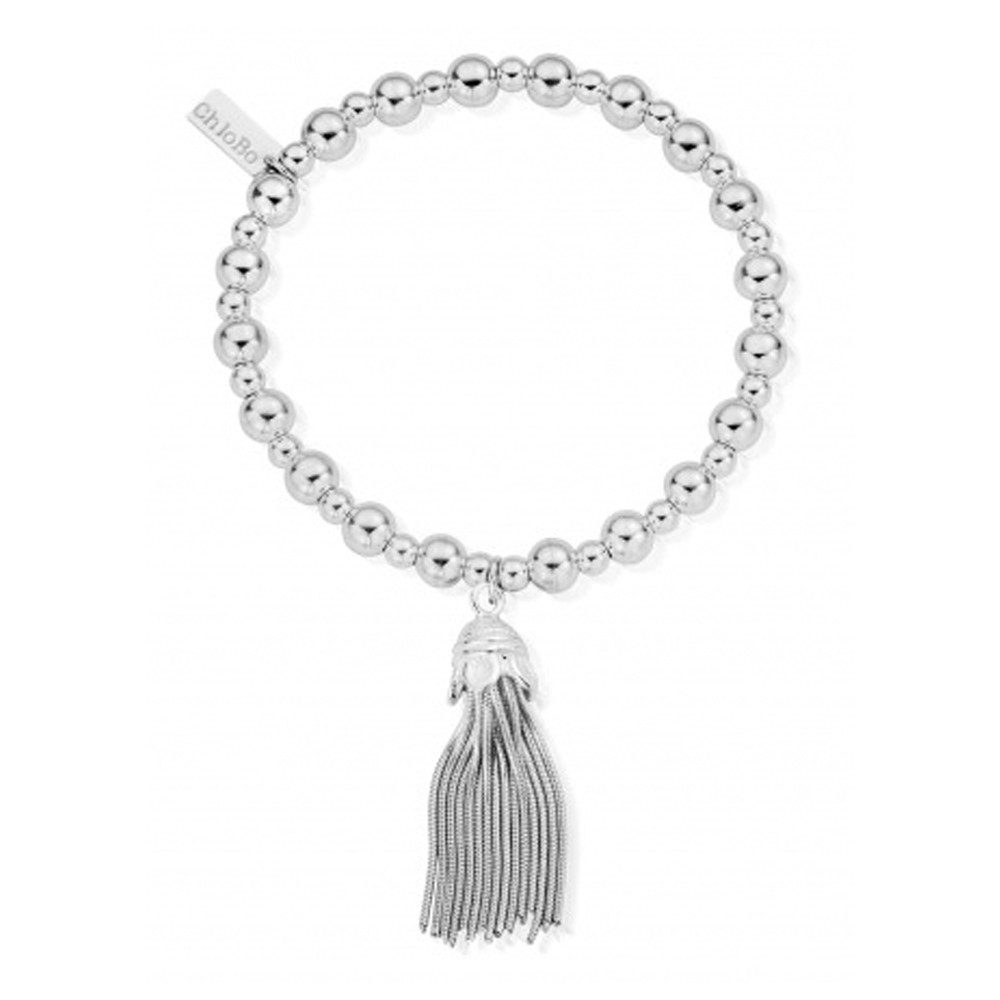 Mini Small Ball Tassel Bracelet - Silver