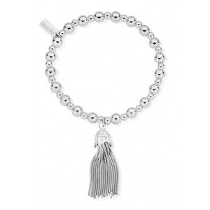 Mini Small Ball Tassel Bracelet - Silver