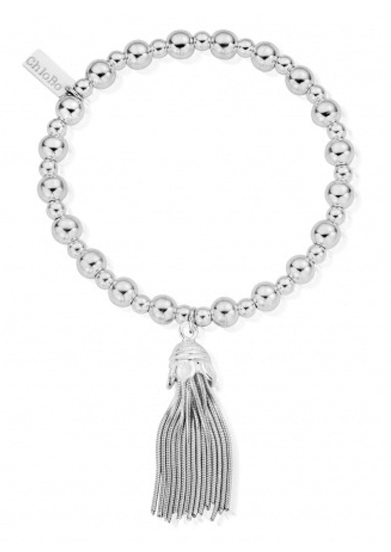 ChloBo Mini Small Ball Tassel Bracelet - Silver main image