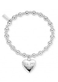 ChloBo Mini Small Ball Bracelet with All My Love Charm - Silver