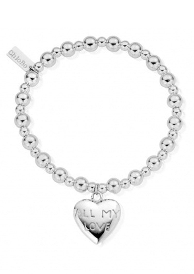 ChloBo Mini Small Ball Bracelet with All My Love Charm - Silver main image