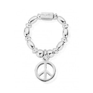 Rice & Disc Ring With Peace Charm