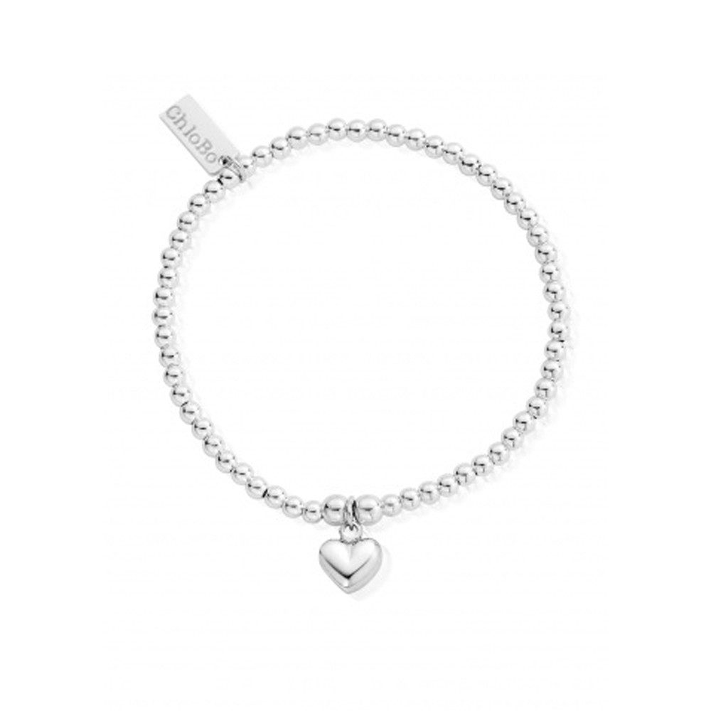 Cute Charm Bracelet with Puffed Heart - Silver