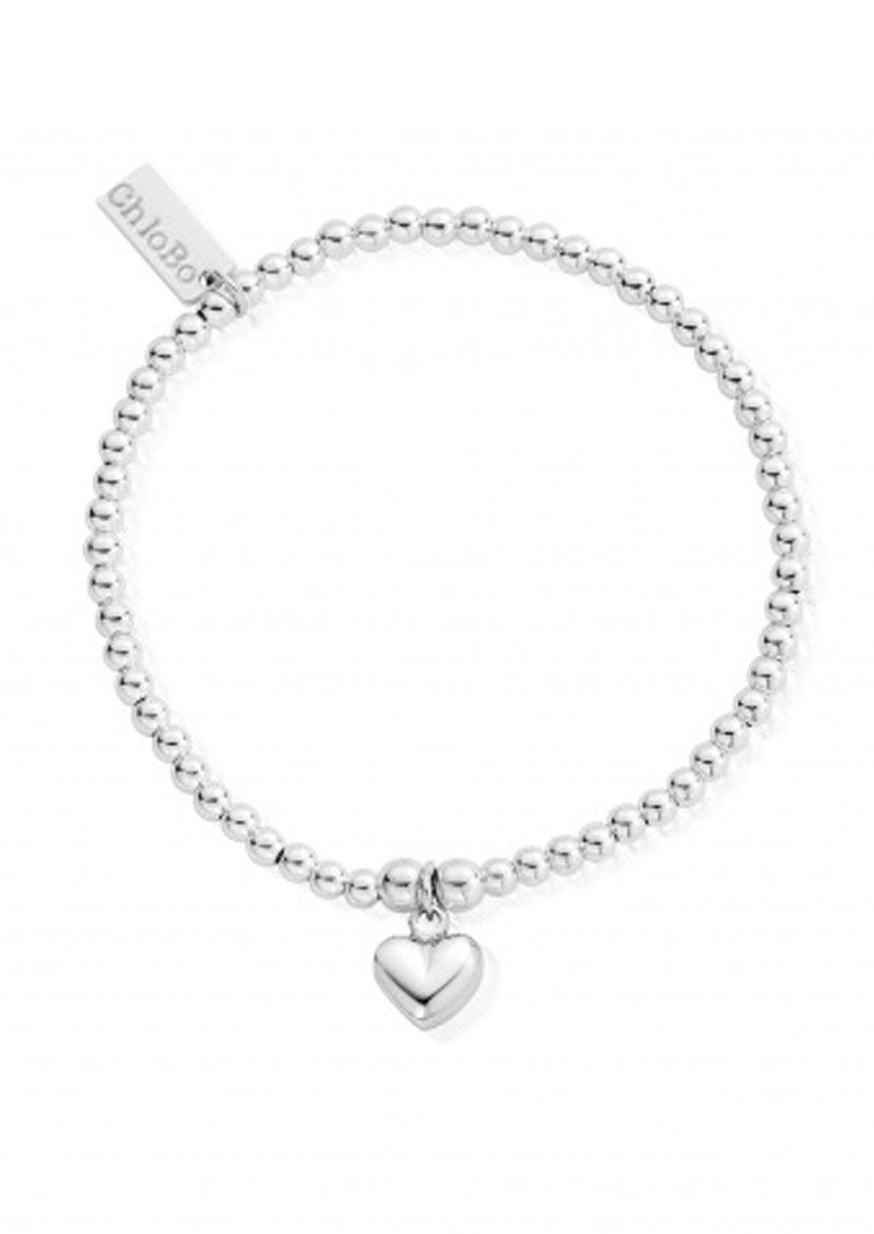 Cute Charm Bracelet with Puffed Heart - Silver main image