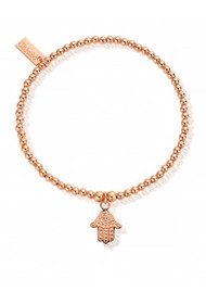 ChloBo Cute Charm Bracelet with Hamsa Hand - Rose Gold