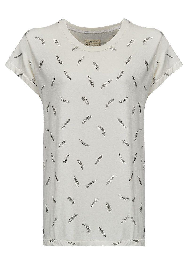 Current/Elliott The Crew Neck Tee - Dirty White Feathers main image