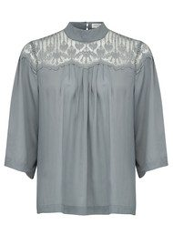 Rosemunde Dennie Lace Top - Grey Moon