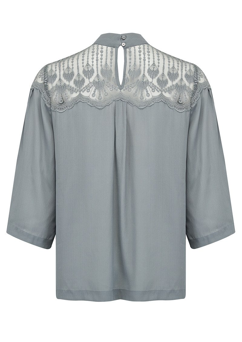 Rosemunde Dennie Lace Top - Grey Moon main image