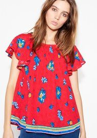 Ba&sh Pino Floral Top - Rouge