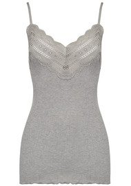 Rosemunde Wide Lace Strap Top - Light Grey Melange