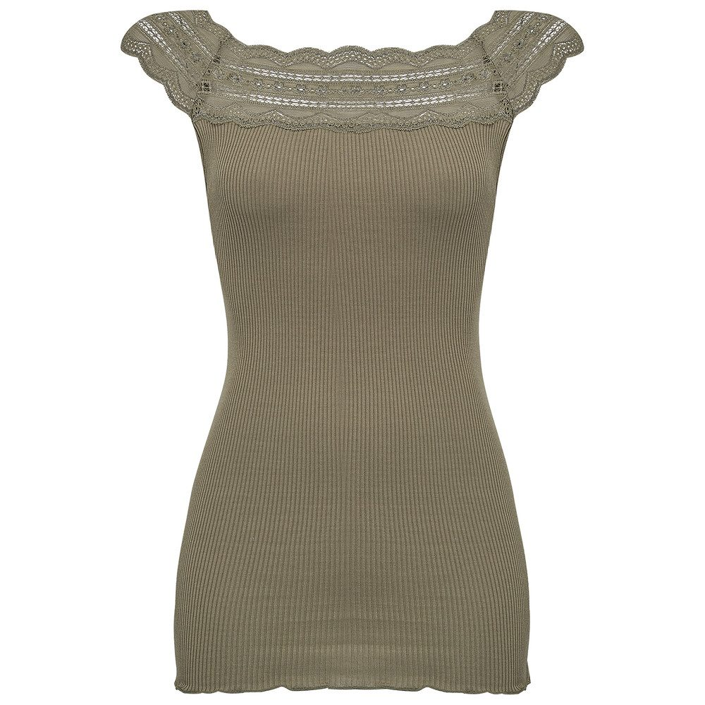 Silk Lace T-Shirt - Olive