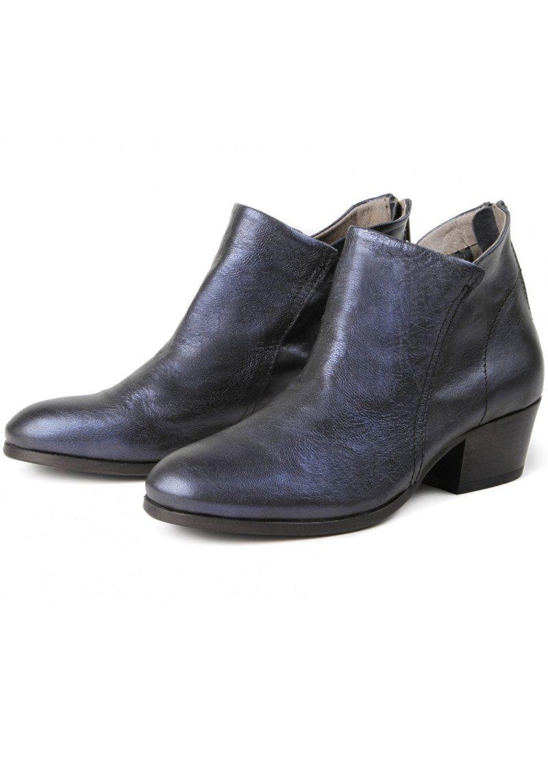 Hudson London Apsi Metallic Leather Boots - Navy main image