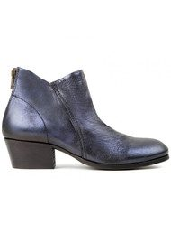 Hudson London Apsi Metallic Leather Boots - Navy