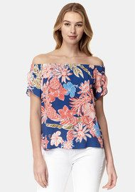 COOPER AND ELLA Piper Off Shoulder Top - Red, Blue & White