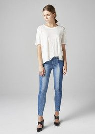 Twist and Tango Julia Raw Hem Ankle Jeans - Mid Blue