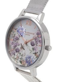 Olivia Burton Parlour Bee Blooms Mesh Watch - Silver