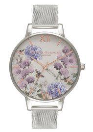 Olivia Burton Parlour Bee Blooms Mesh Watch - Silver