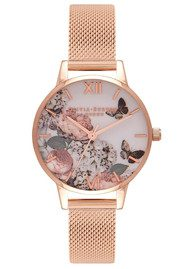 Olivia Burton Midi Enchanted Garden Mesh Watch - Rose Gold