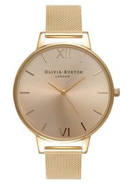 Olivia Burton Big Sunray Dial Mesh Watch - Gold