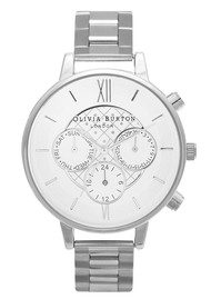 Olivia Burton Chrono Detail Dot Design Bracelet Watch - Silver