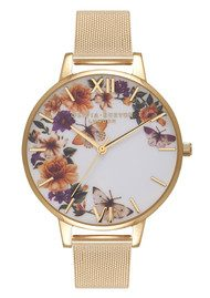 Olivia Burton Enchanted Garden Butterfly Mesh Watch - Gold