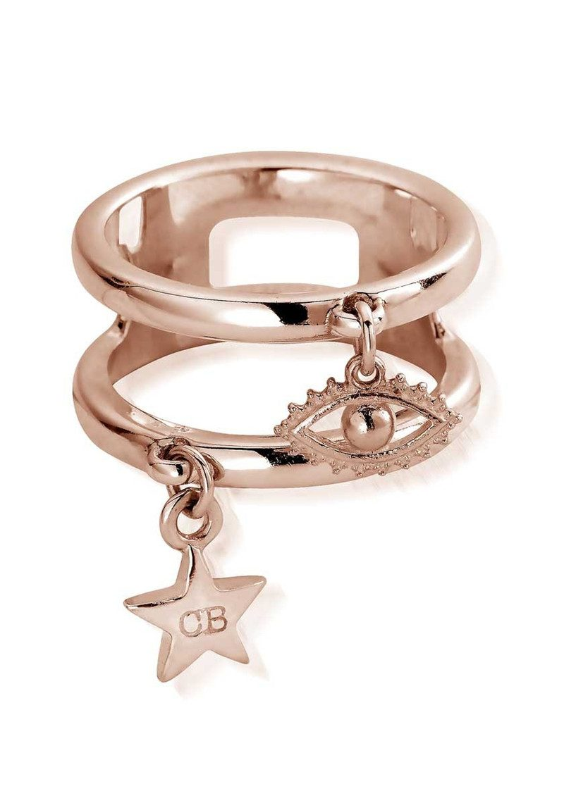 ChloBo Double Band Evil Eye Ring - Rose Gold main image