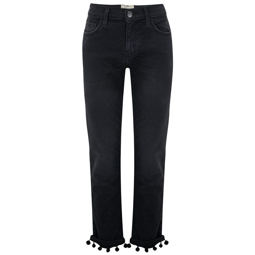 The Cropped Straight Pom Pom Jeans - Worn Black