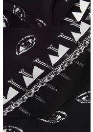 ROCKINS Eyes Classic Skinny Silk Scarf - Black