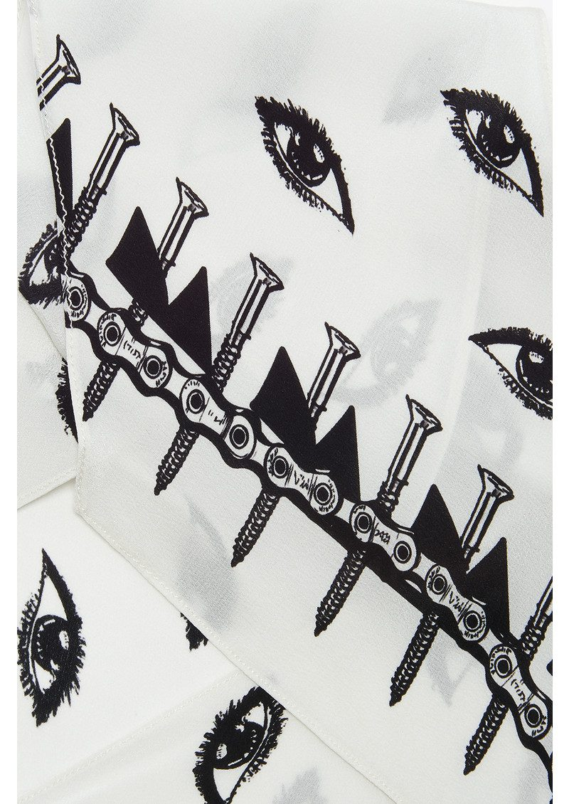 ROCKINS Eyes Classic Skinny Silk Scarf - Ivory main image