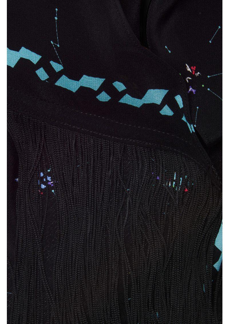 ROCKINS Fleur De Pop Classic Skinny Fringed Scarf - Black main image