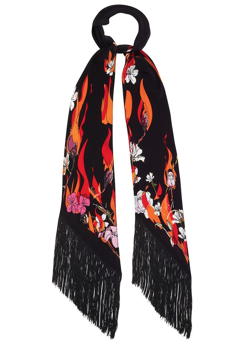 ROCKINS Flowers 'n' Flames Classic Skinny Fringed Scarf - Black main image