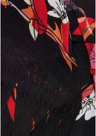 ROCKINS Flowers 'n' Flames Classic Skinny Fringed Scarf - Black