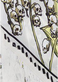 ROCKINS Skullflower Classic Skinny Fringed Scarf - Ivory