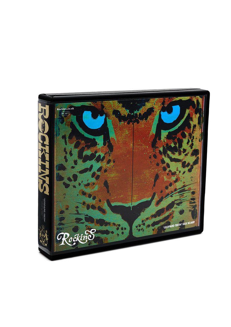 ROCKINS Leopard's Teeth Classic Skinny Silk Scarf - Gold main image